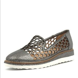 MIDAS Neilson Silver Crackle Leather Flat Shoes 38